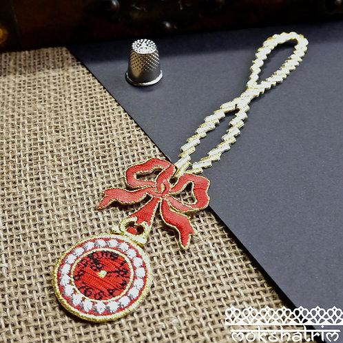 Iron on red clock watch chain bow silver gold metallic tassle tassel patch applique trim mokshatrim haberdashery