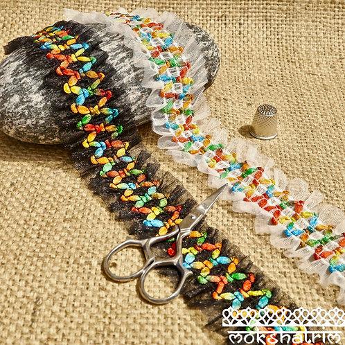 Elastic trim organza black white smocked shirred elastic multicoloured cord stretch lace tulle Mokshatrim Haberdashery