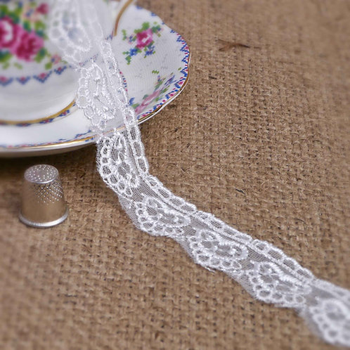 Ivory Heart Design Embroidered Tulle M343