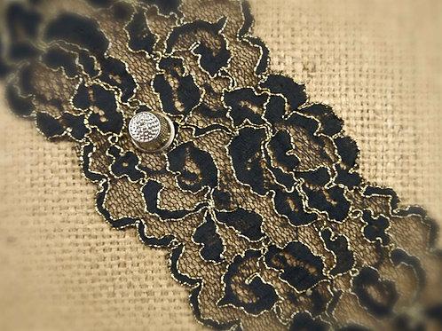 Black Gold Corded Stretch Lace M418 Mokshatrim Haberdashery