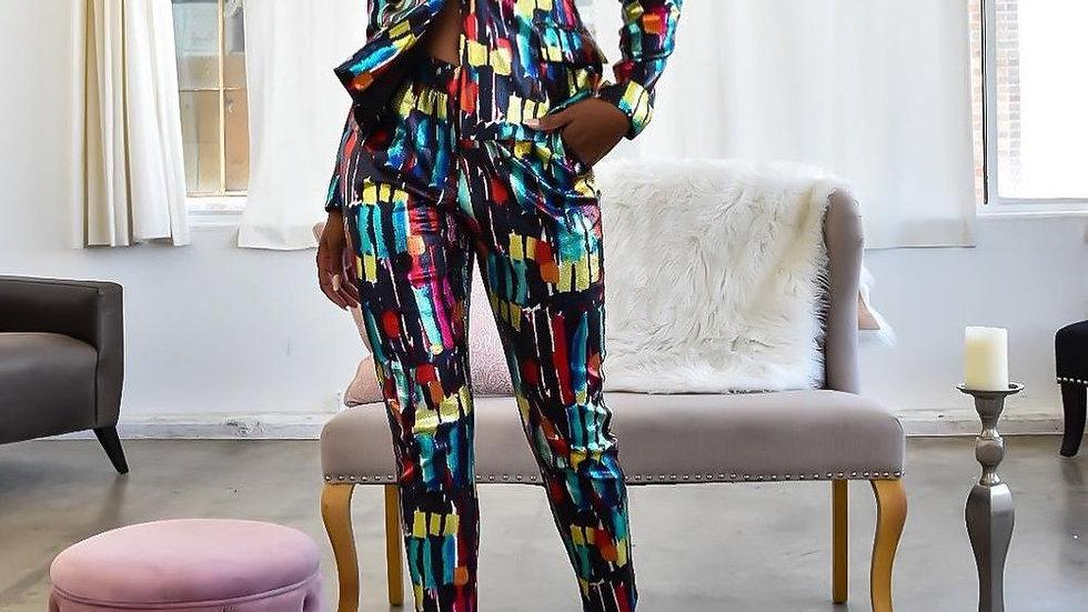 Women Pant Suits Blazer Jacket  Pencil Pant 2 Piece Set