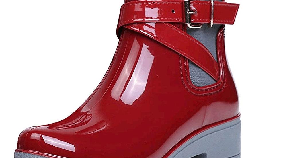 Rubber Lace Up PVC Ankle Boots Sewing Rain Boots Plus Size