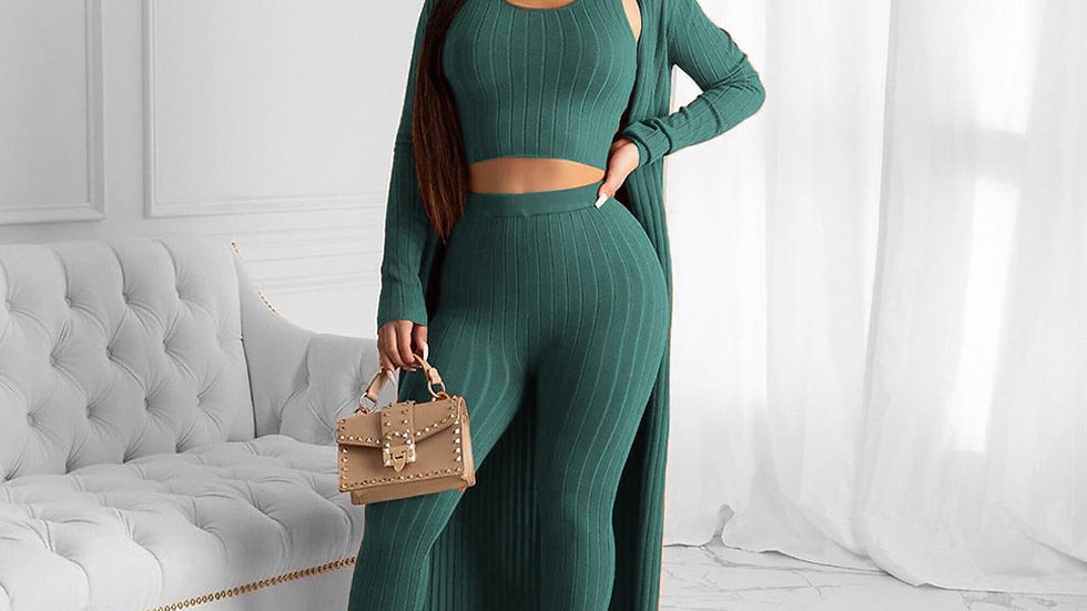 Womens Fashion 3pc Autumn Sets Solid Colors Knitted Set