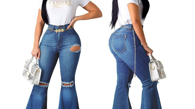 Ripped Jeans Bell Bottom Vintage Jeans Skinny Flare StretchyJeans