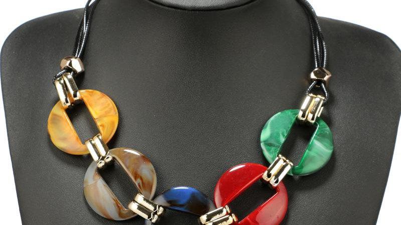 Bohemia Necklace Exaggerated Round Acrylic Pendant Leather Rope Chocker