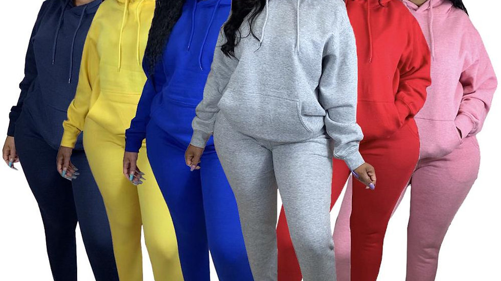 Two Piece Set Hooded Sweatshirts Pencil Jogger Sweatpants