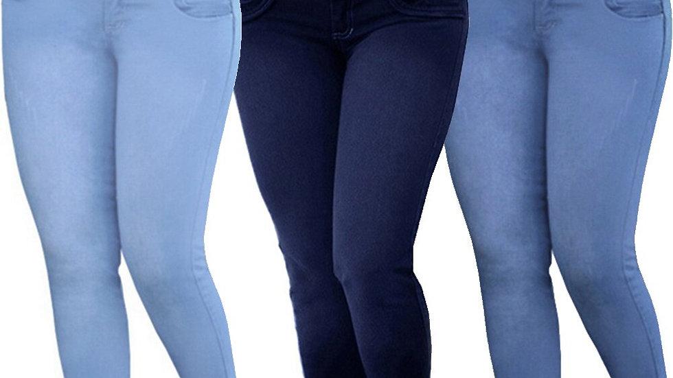High Waist Women Jeans Buttons Slim Elastic Plus Size Stretch Jeans Plus Size