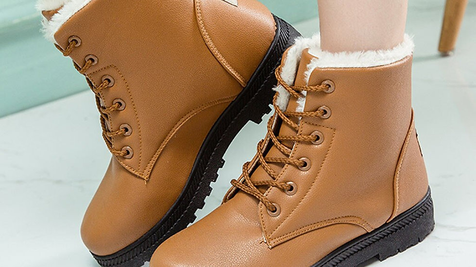 Plush Boots Women Casual Solid  Round Toe Lace Up