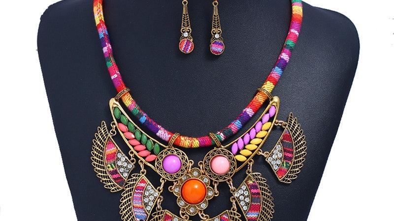 Female Vintage Choker Pendants Necklaces Ethnic Tribal Jewelry Set