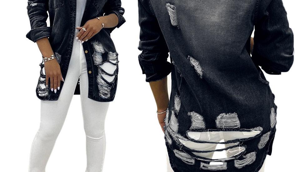 Denim Coat Women Jacket Ripped Fashion Turn Down Collar Blue Black