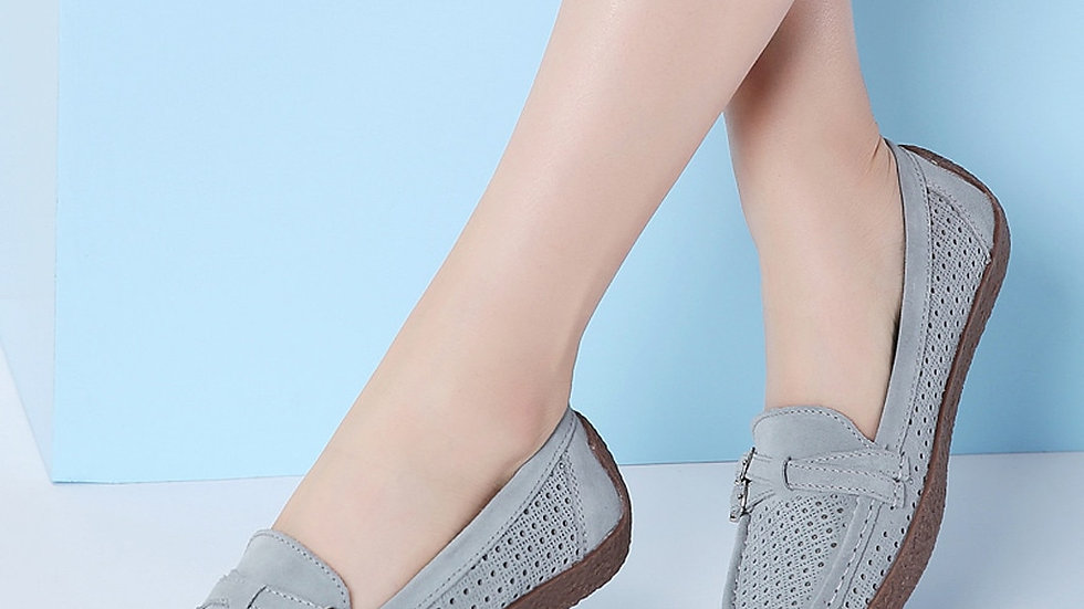 Women Square Toe Suede Slip-On Shoes Hollow Single Shoe