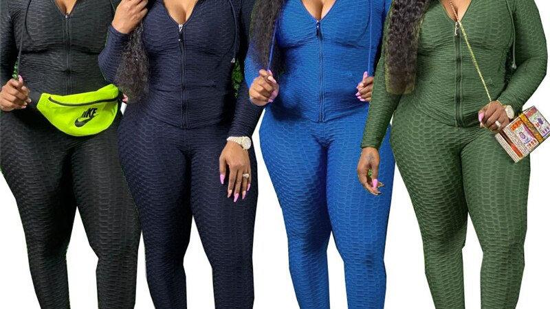 Two Piece Set Women Tracksuit Sweatshirt Sweatpants Jogger