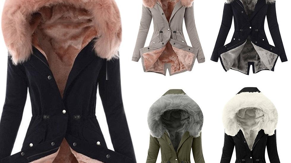 Women Big Fur Belt Hooded Thick Down Parkas