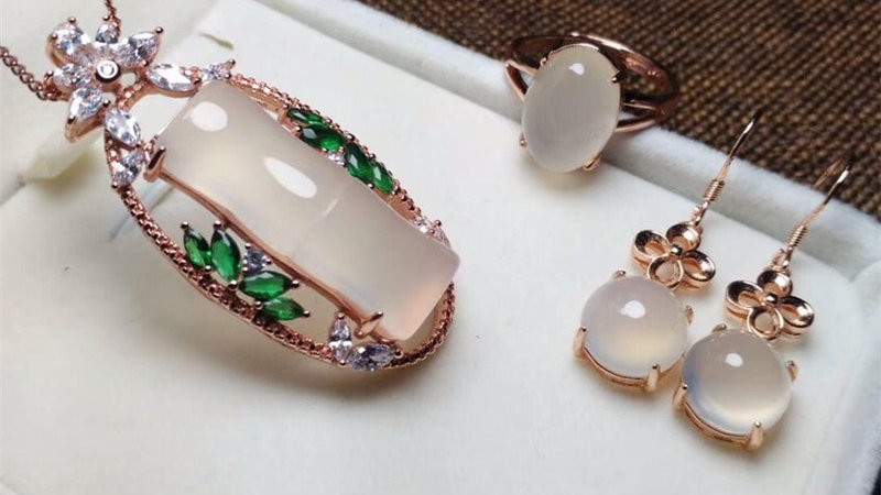 Jadery 3pcs Luxury Rose Gold 925 Sterling Silver Jewelry Sets