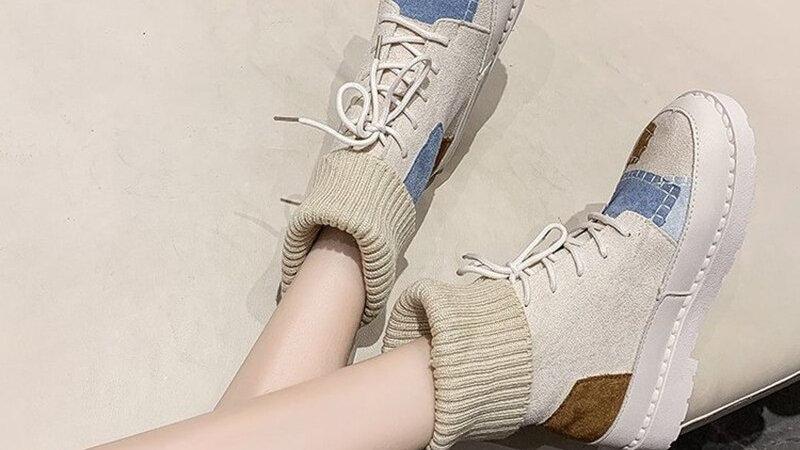 Martin Boots Warm Snow Brand Shoes Women Patch Design