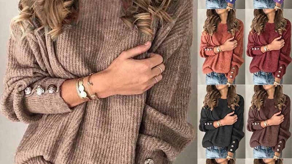 Women's Long Sleeved O Neck Button Sweaters Top Knitted