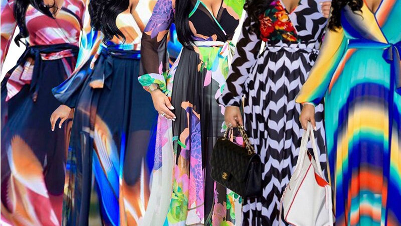 Women Long Sleeve Dress V-Neck Casual Loose Dress