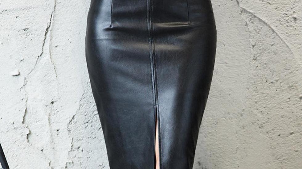 Black Leather Skirt Women Plus Size Midi PU Pencil Skirts