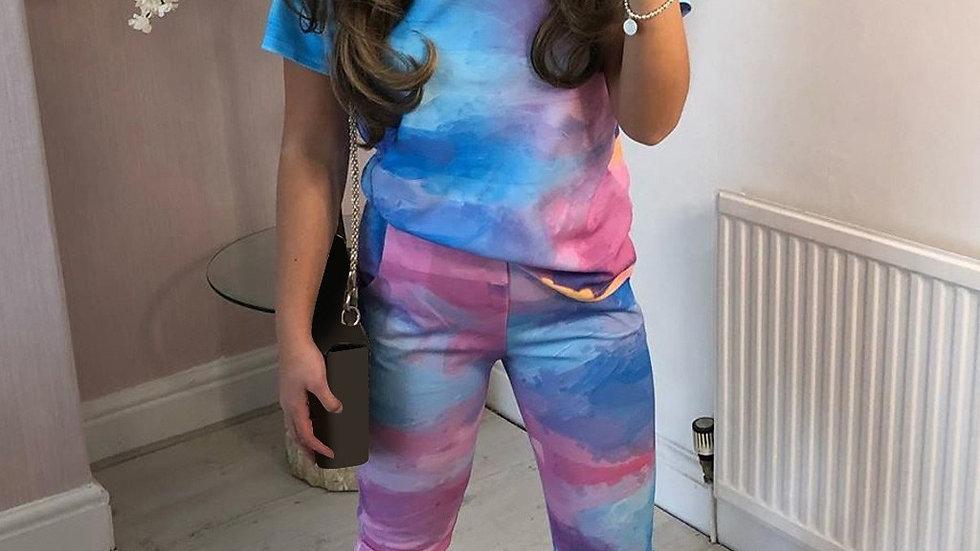 Casual Tie Dye Printed T-shirt Female Pants
