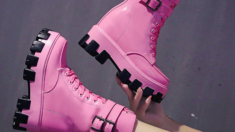 Women's Mid-Calf Boots Fashion Candy Color Patent Leather Girl Shoes