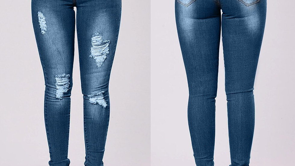 Stretch Skinny Ripped Hole Washed Denim Jeans Jeggings High Waist