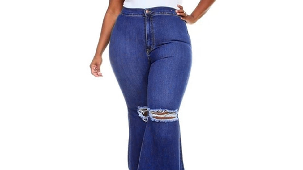 Ripped Hole Jeans for Women Vintage High Waist Denim Pants