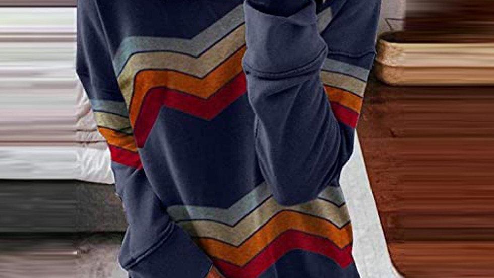 Wave Stripe Printed Ladies Tshirts Plus Size Women Top