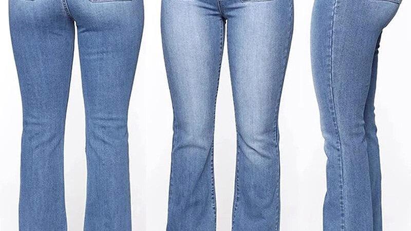 High Waist Button Boot-Cut Jeans Women Casual Long Pants