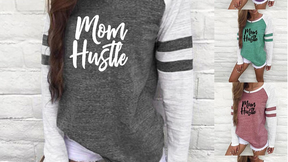 Women Fashion Print Round Neck Long Sleeve Loose T-Shirt