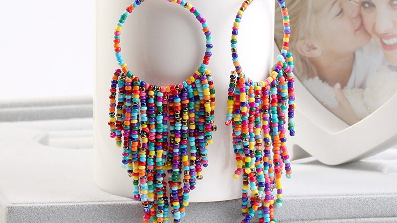 Kymyad Bohemian Multicolor Beads Tassel Earrings