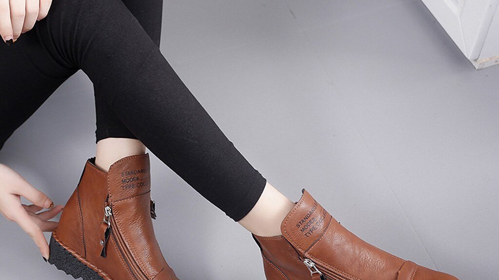 Women Retro Boots Winter Short Boot Leather
