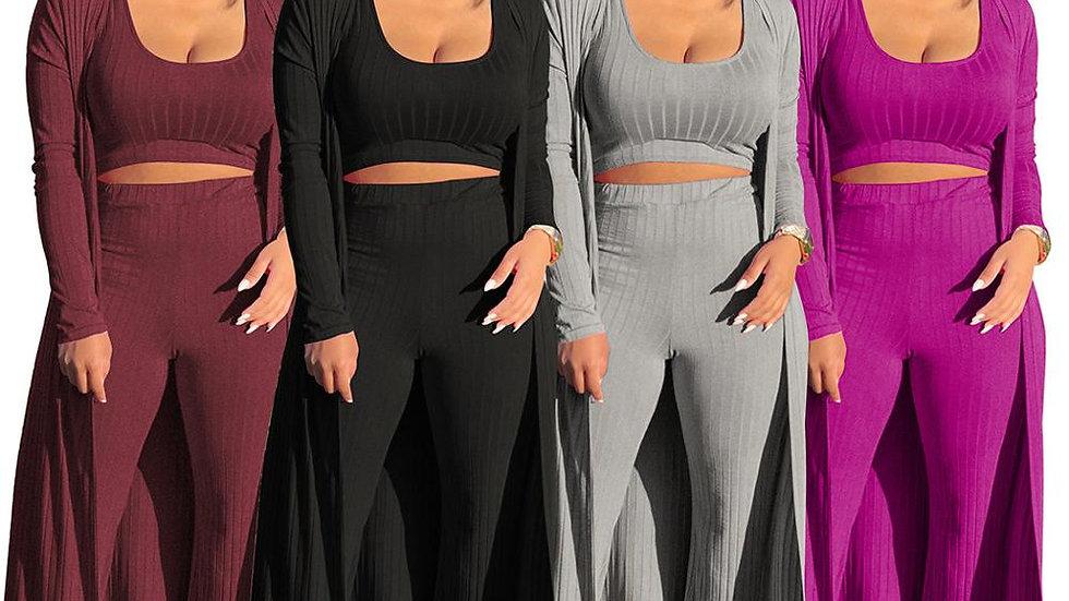 Echoine Women Sexy 3 Pieces Set Cardigans Tracksuit