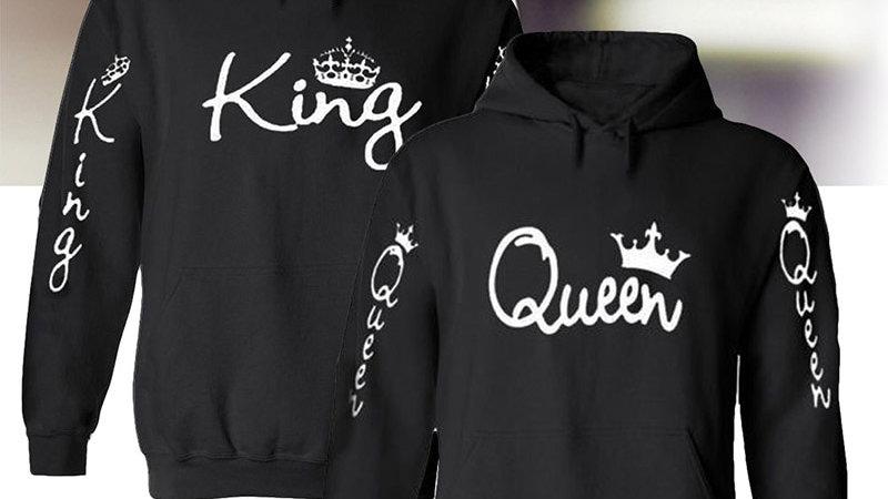 King Queen Hoodie Oversized Sweatshirt Fashion  Woman Hoodies Pullover Plus Size