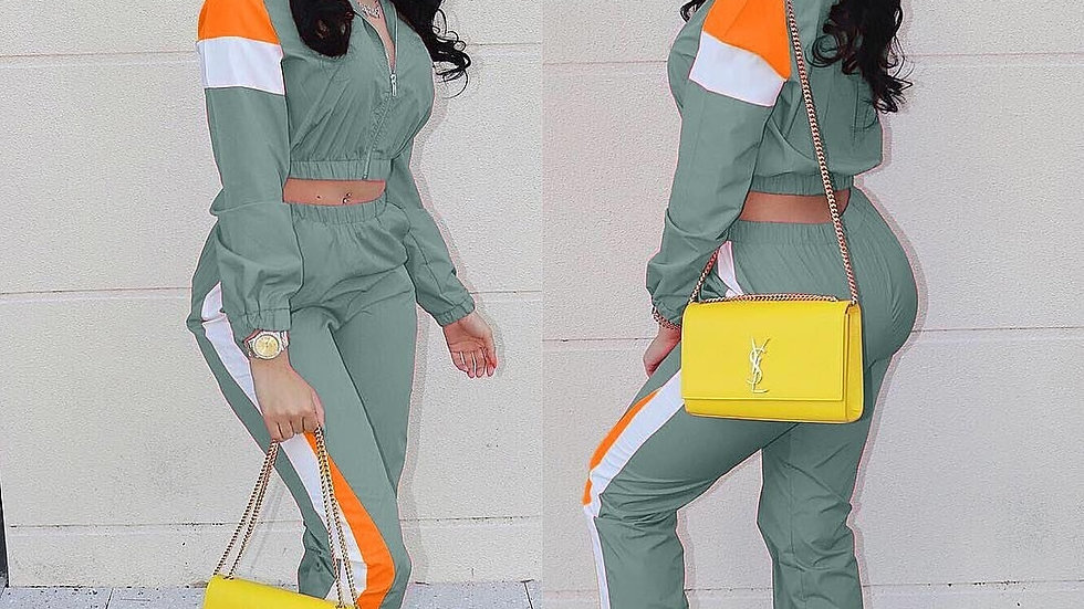 Colorful Patchwork Zipper Up Jackets Pencil Pants Suits Sporty Two Piece