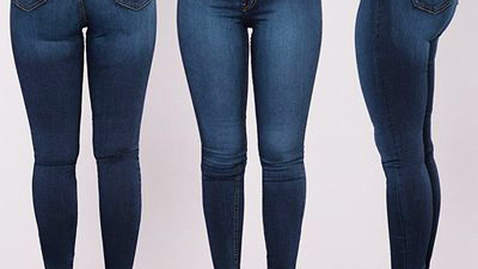 High Waisted Skinny Denim Jeans Ladies Spring Stretch Slim Plus Size