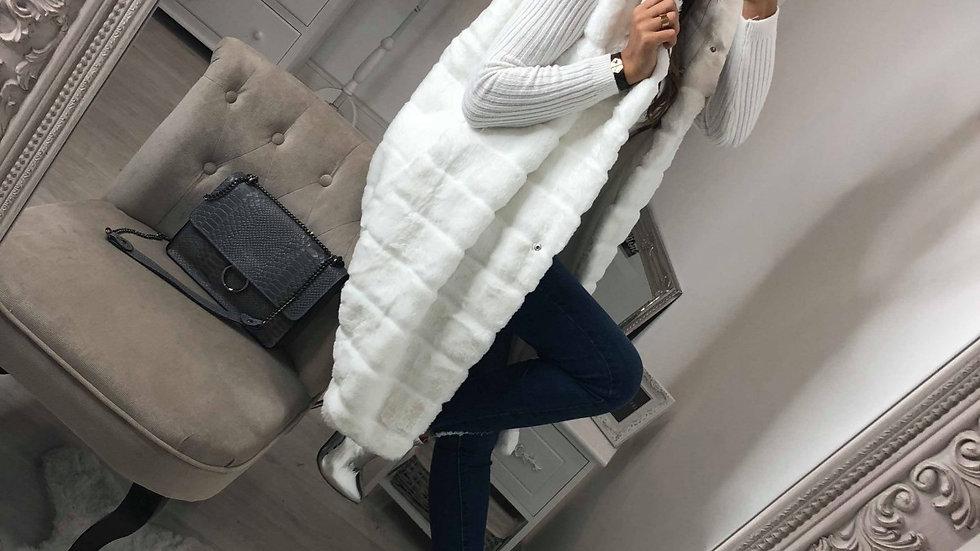 Women Long Sleeveless Hoodies Faux Fur Coat Vest Winter Jacket