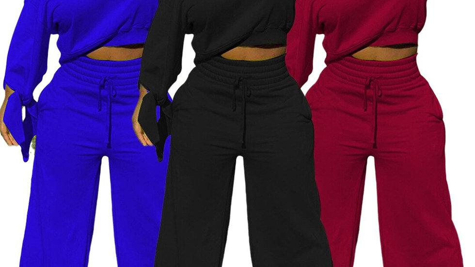 Women's Set Tie Up Long Sleeve Off Shoulder Sweatshirt Straight Pants Tracksuit