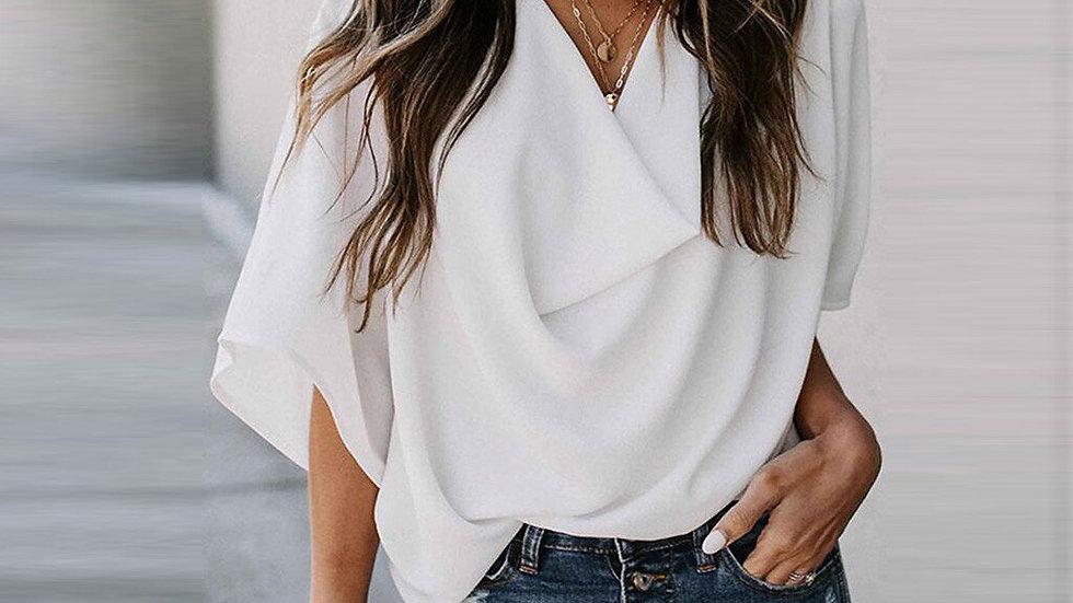 Women T Shirt Solid Color v Neck Short Sleeve Shirt