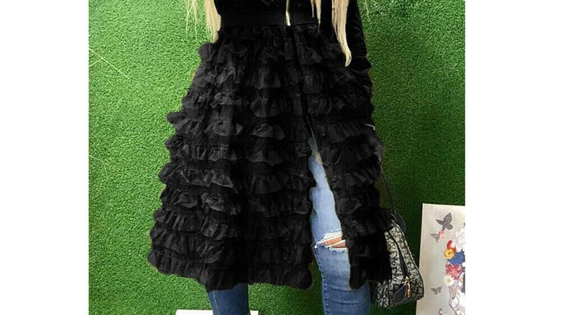 Women Ladies Zip Jackets Fashion New Ruffle Lace Splice Long Coats