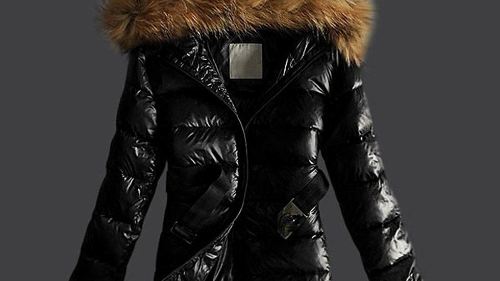 Women Outwear Jacket Quilted Winter Warm Coats Fur Collar