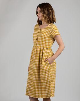 Linen-Dress-+Model-No-11-Sunflower-Check