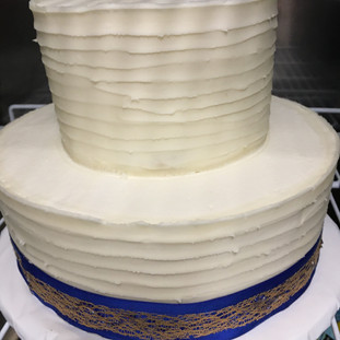 Fall Wedding Cake Simple Ribbon