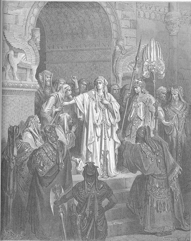 Queen Vashti Refuses to Obey Ahasuerus' Command, Gustave Doré English Bible 1866