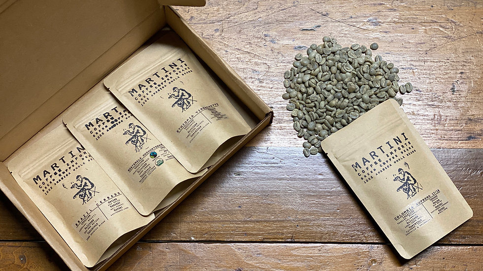 Unroasted Green Coffee Sampler Box  - Includes Four, 4 oz Samples (1lb Total)