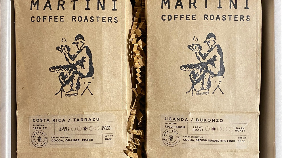 Martini Coffee Gift Set -Includes Two, 1lb Bag Varieties of Fresh Roasted Coffee