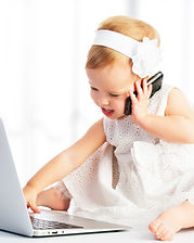 baby girl with computer laptop and mobil