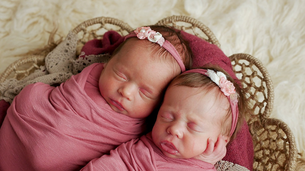 twins sisters newborn in the winding and