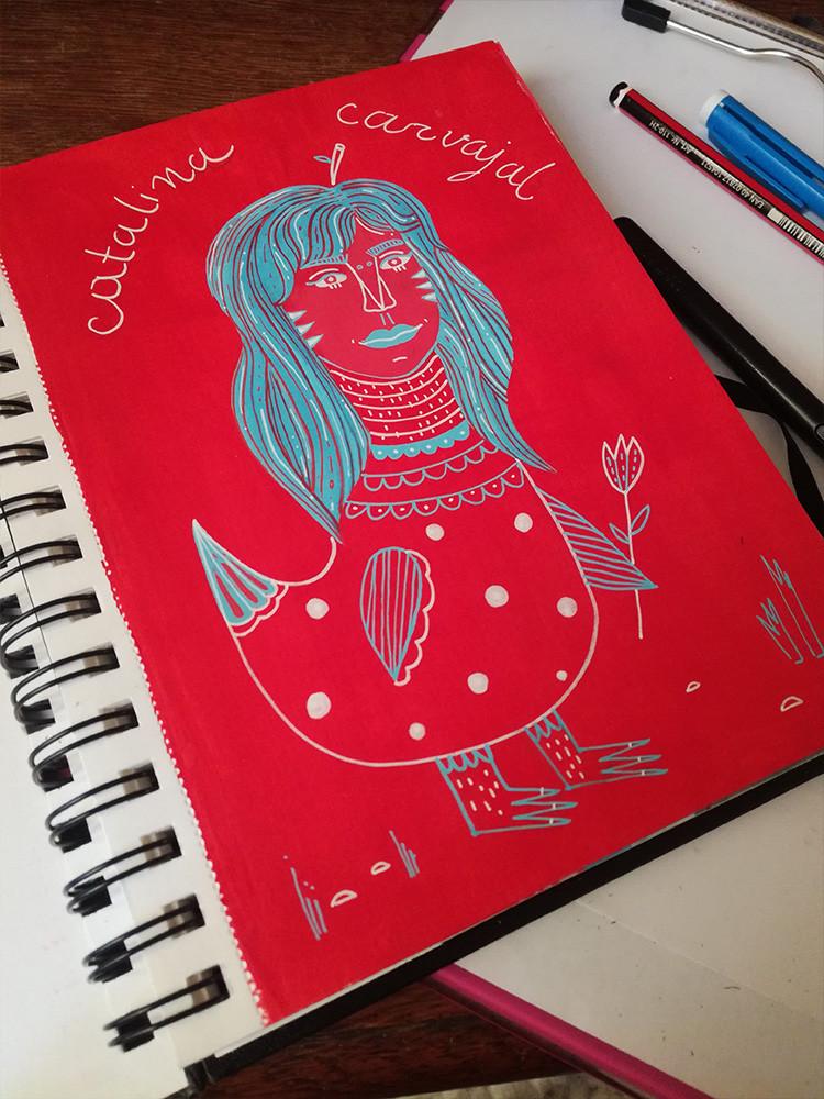 self-portrait-red-blue-white-illustratio