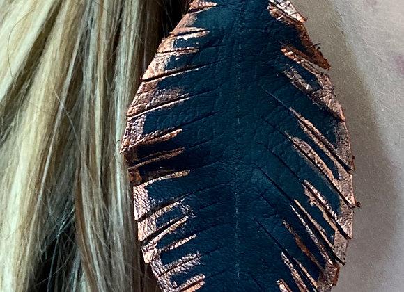 Black & Metallic Copper Feather Earrings