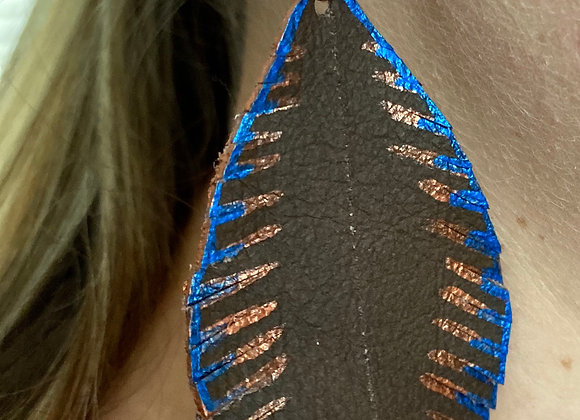 Chocolate & Pacific Blue Feather Earrings